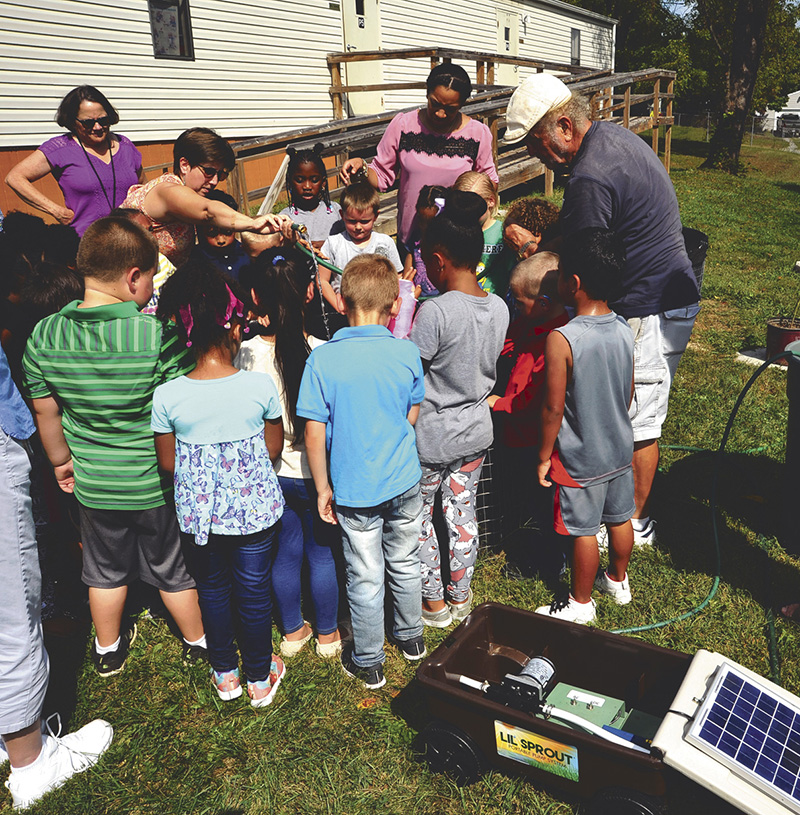 Ranson Elementary set up Solar Water Pumo to plants a garden