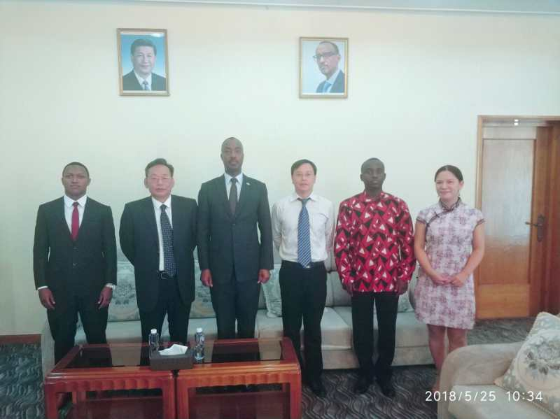 Senior delegation of MNE visiting Rwanda Ambassador in China.